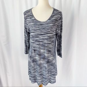 Comfy USA Gray Space Dyed Scoop Neck Tunic Top